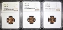 Lot 6: (3) 1957 LINCOLN CENTS NGC PF-67 RD