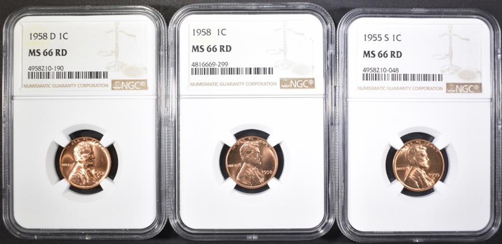 1955-S, 58-P,D LINCOLN CENTS NGC