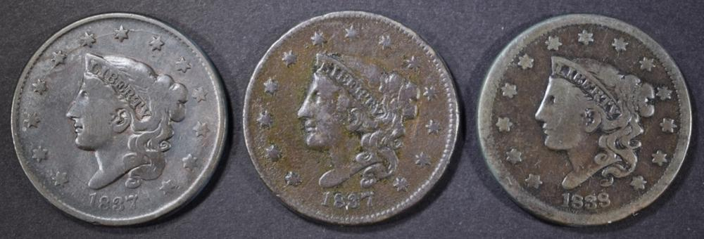 (2) 1837 F-VF, 38 VG LARGE CENTS