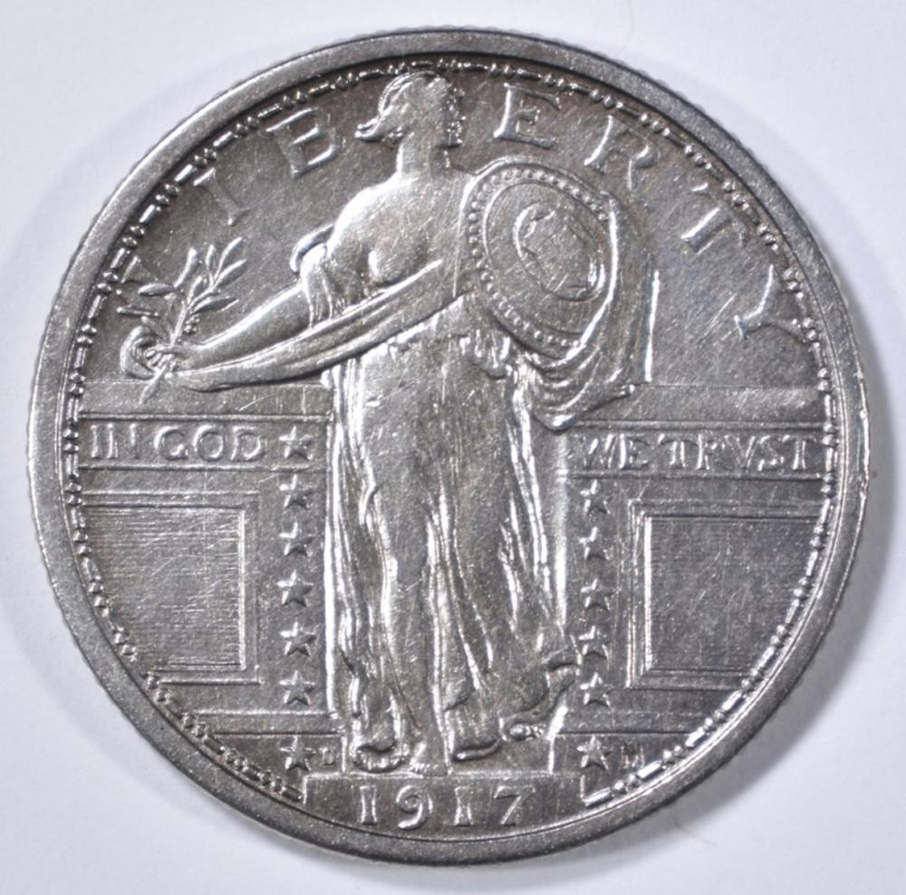 Lot 18: 1917-D T-1 STANDING LIBERTY QUARTER AU
