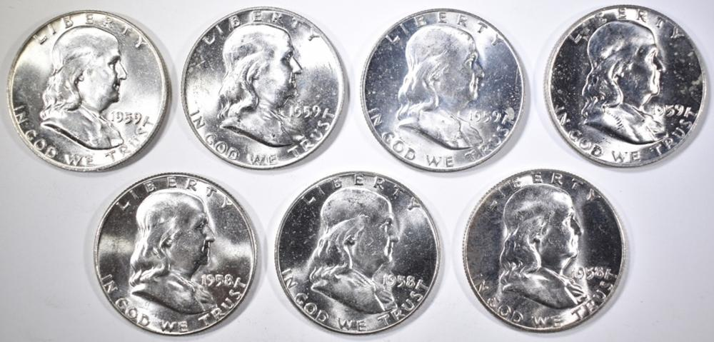 Lot 24: (3) 1958 & (4) 59 FRANKLIN HALVES CH BU