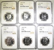 Lot 27: (3) 1968-S & (3) 1969-S KENNEDY HALVES