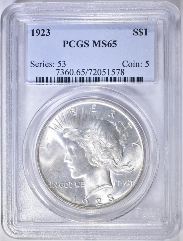 1923 PEACE DOLLAR PCGS MS-65