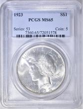 Lot 32: 1923 PEACE DOLLAR PCGS MS-65