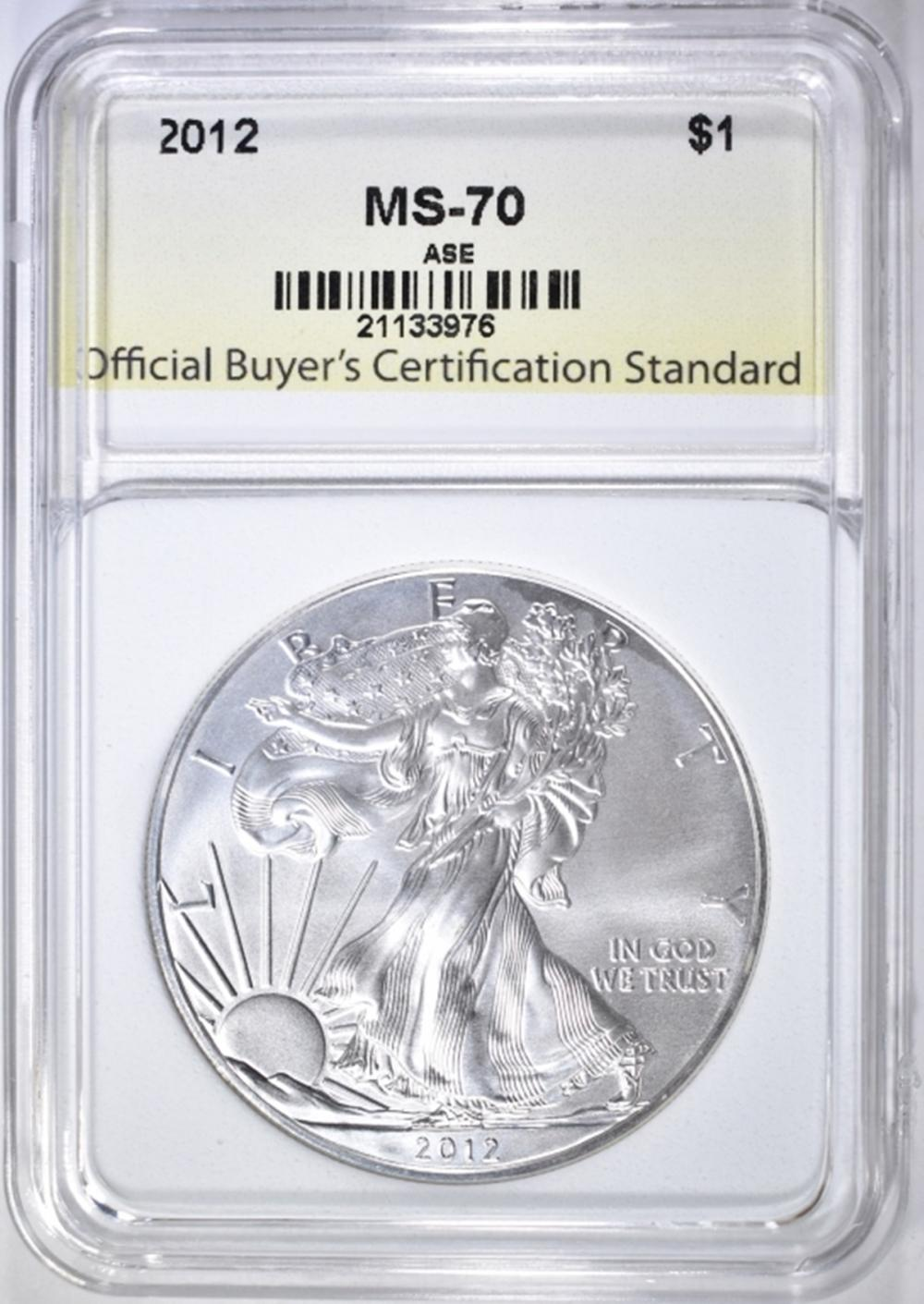 2012 AMERICAN SILVER EAGLE, OBCS PERFECT GEM