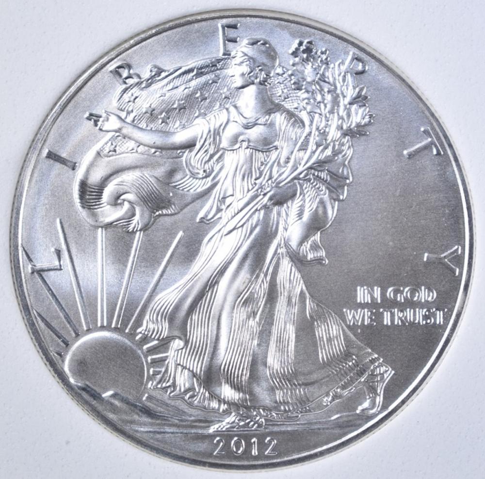 Lot 36: 2012 AMERICAN SILVER EAGLE, OBCS PERFECT GEM