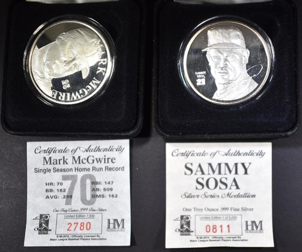 Lot 51: SILVER SAMMY SOSA & MARK MCGWIRE COINS