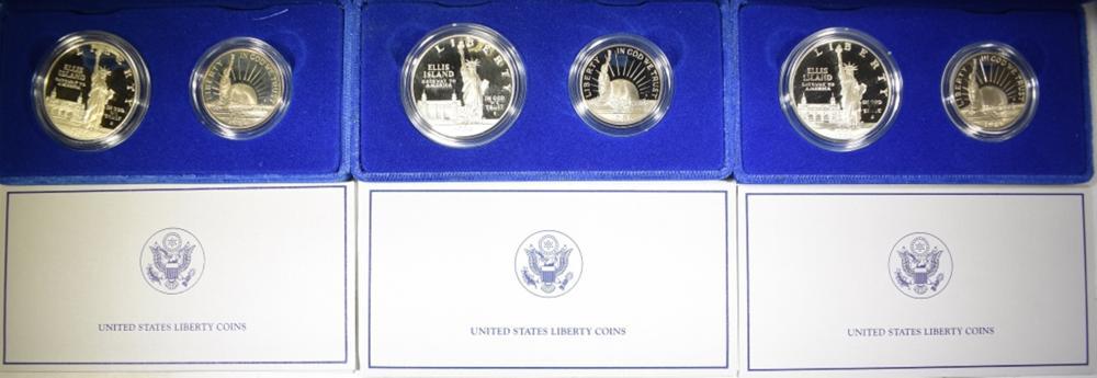 3 1986 LIBERTY SILVER DOLLARS