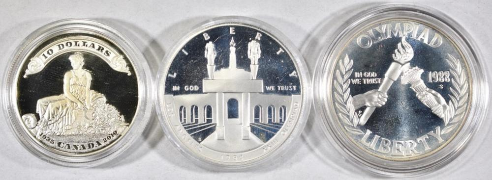 Lot 55: 3 SILVER PROOF COIN LOT: