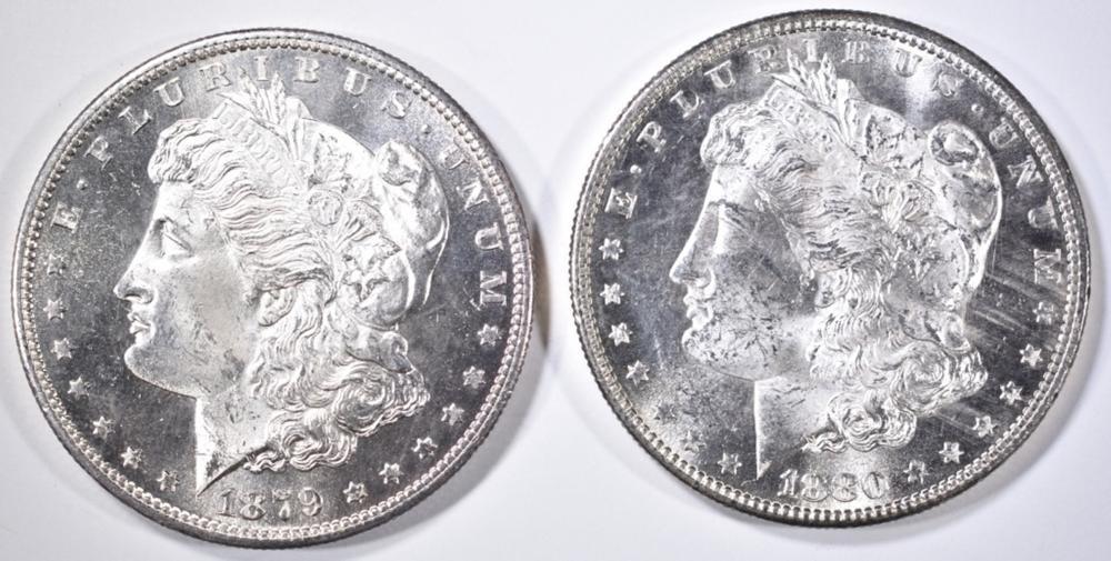 1879-S & 80-S MORGAN DOLLARS  CH/GEM BU