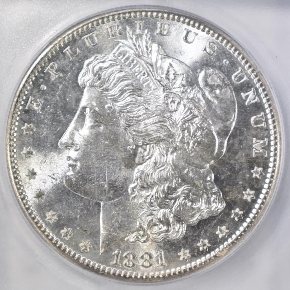 Lot 96: 1881-S MORGAN DOLLAR ICG MS-64+