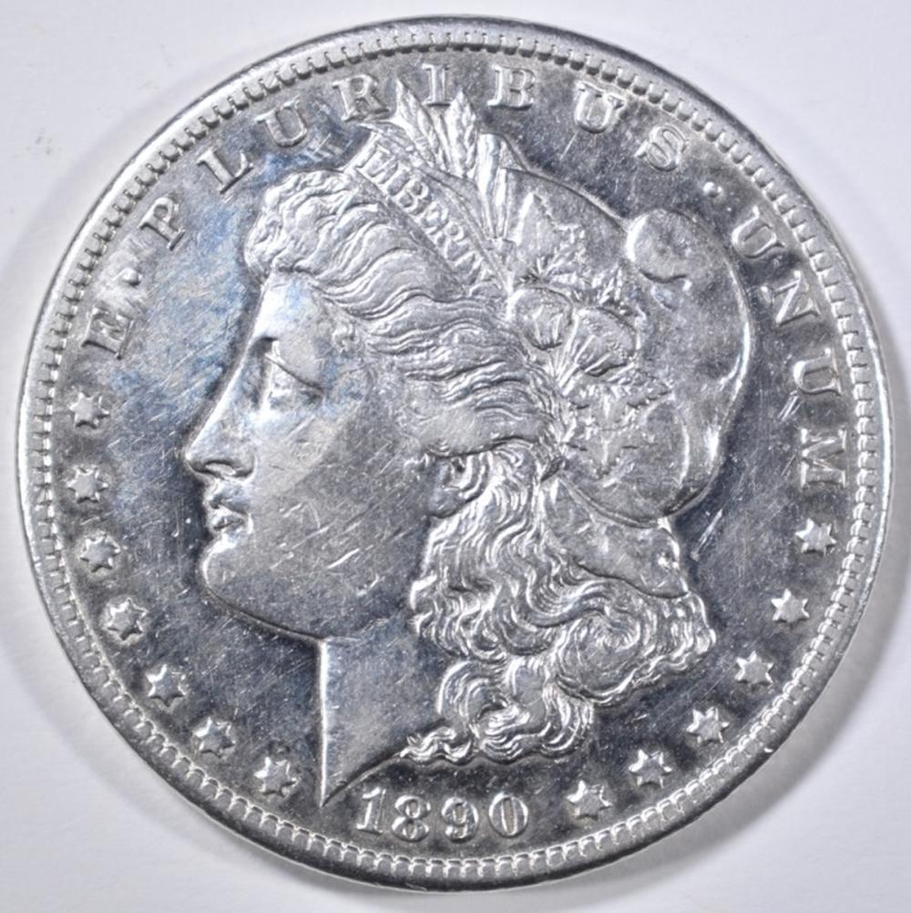 Lot 97: 1890-CC MORGAN DOLLAR AU