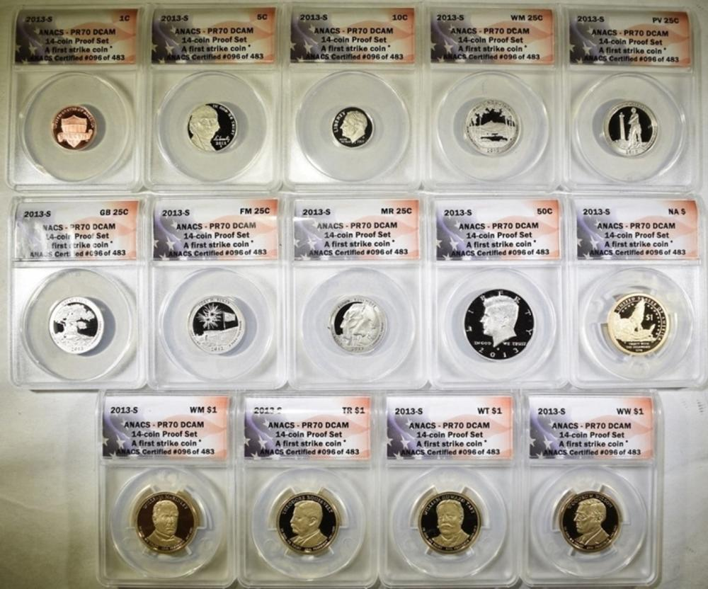 2013-S 14-COIN PROOF SET  ANACS PR-70 DCAM