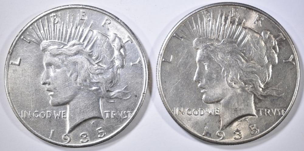 2 1935 PEACE DOLLARS XF/AU