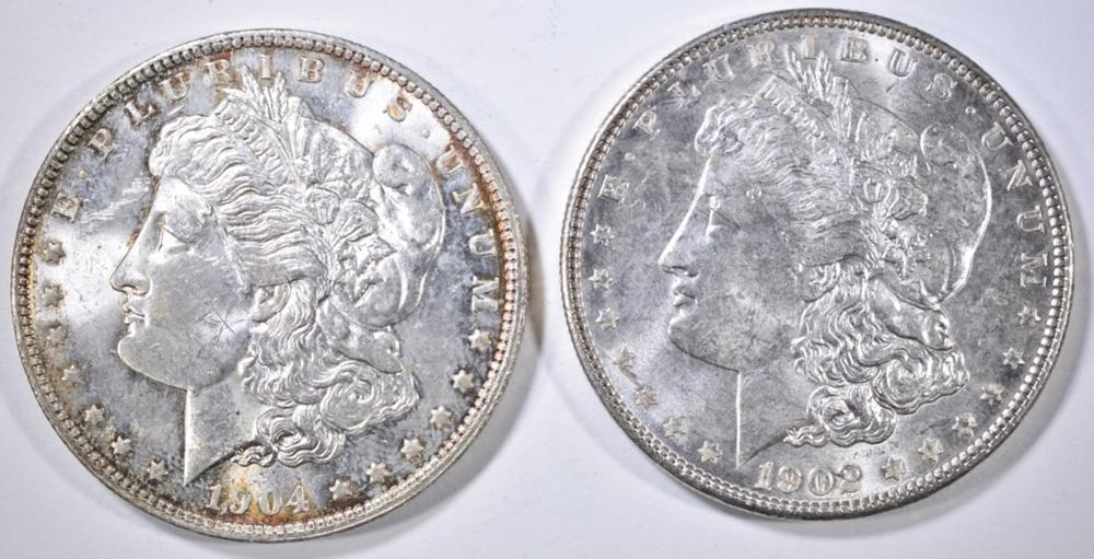 1902 & 04-O MORGAN DOLLARS AU/BU