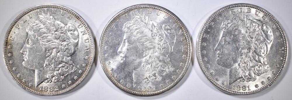 1881-P,S, 82-O MORGAN DOLLARS BU