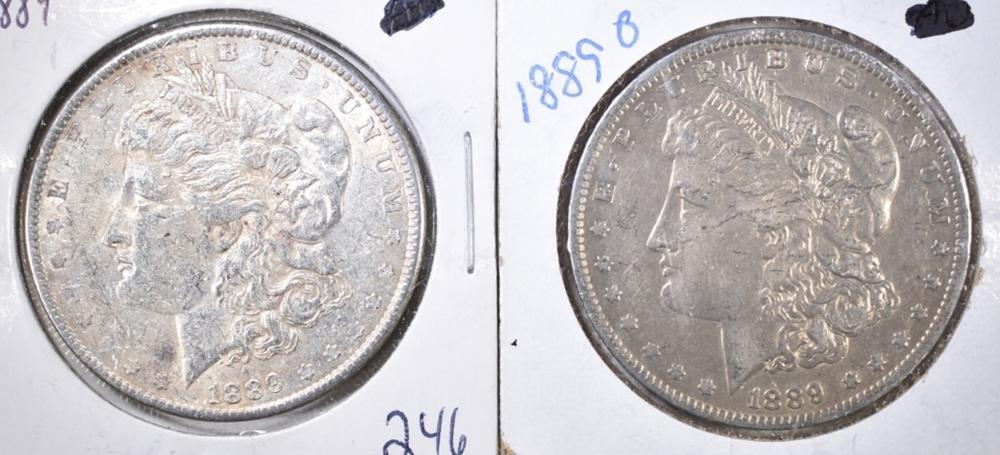Lot 108: 1889-P,O MORGAN DOLLARS XF/AU