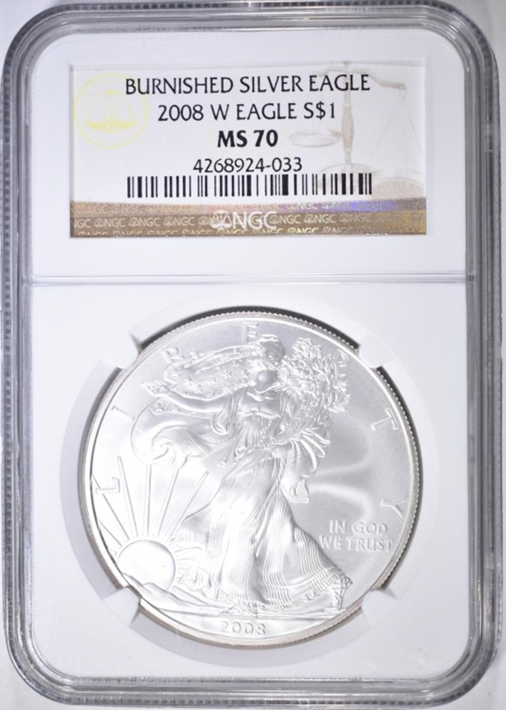 2008-W BURNISHED SILVER EAGLE  NGC MS-70
