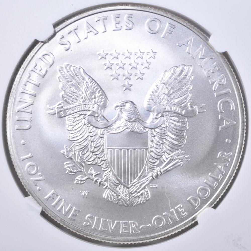 Lot 124: 2008-W BURNISHED SILVER EAGLE NGC MS-70
