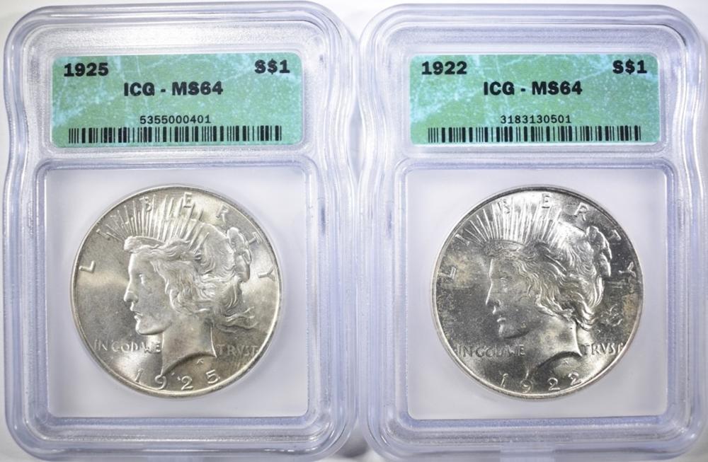 1922 & 1925 PEACE DOLLARS  ICG MS-64
