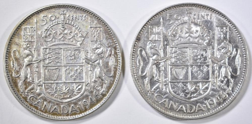 Lot 150: 2 1946 CANADA SILVER HALF DOLLARS: