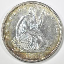 Lot 164: 1858 SEATED LIBERTY HALF CH BU OLD CLEANING