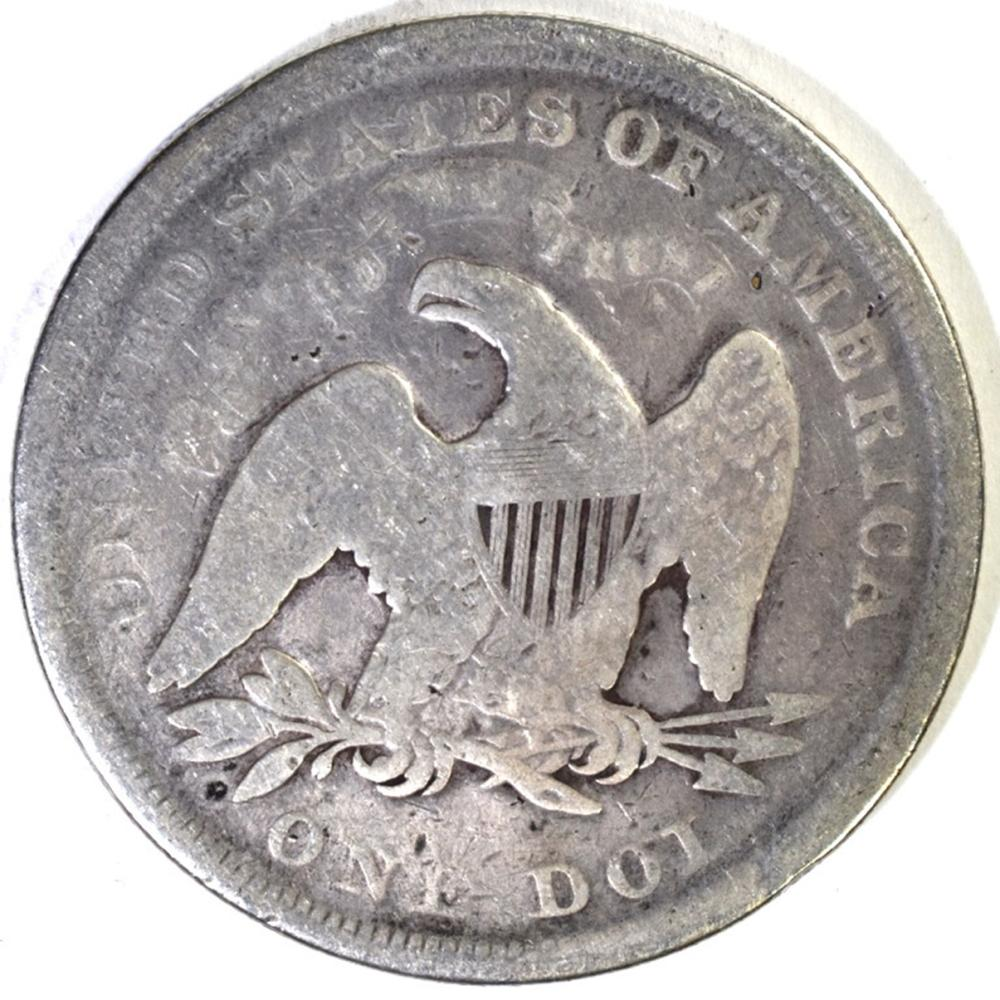 Lot 184: 1872 SEATED DOLLAR, GOOD+