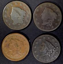 Lot 190: (4) LARGE CENTS 1820 G, VG, 1829 VG, 1851 VF