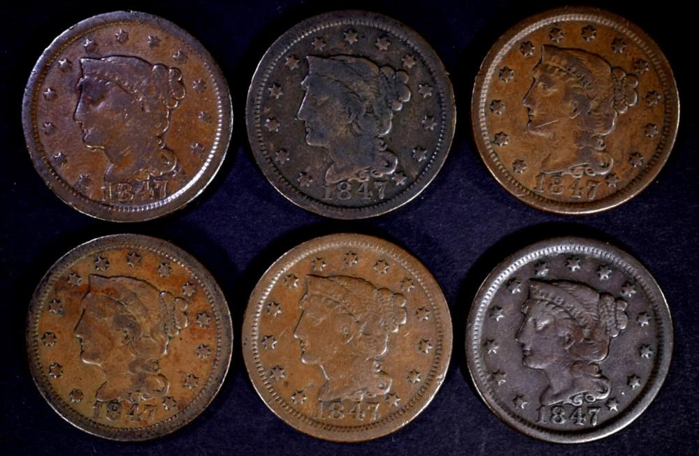 6 - 1847 LARGE CENTS VG/VF