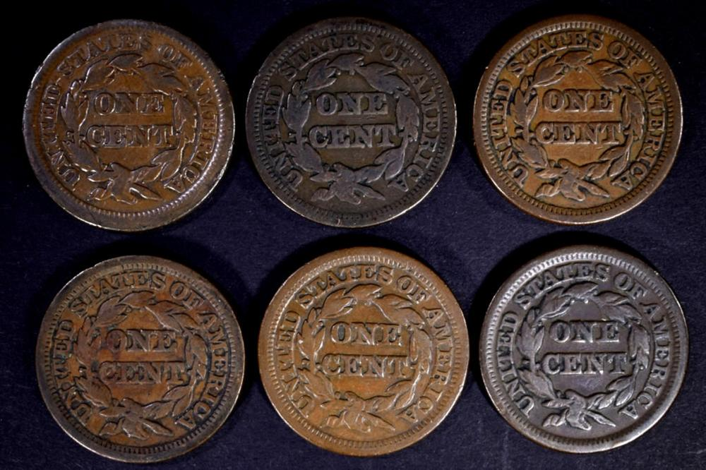 Lot 192: 6 - 1847 LARGE CENTS VG/VF