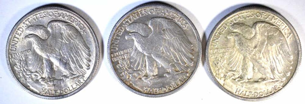 Lot 199: 3 - 1944-S WALKING LIBERTY HALF DOLLARS