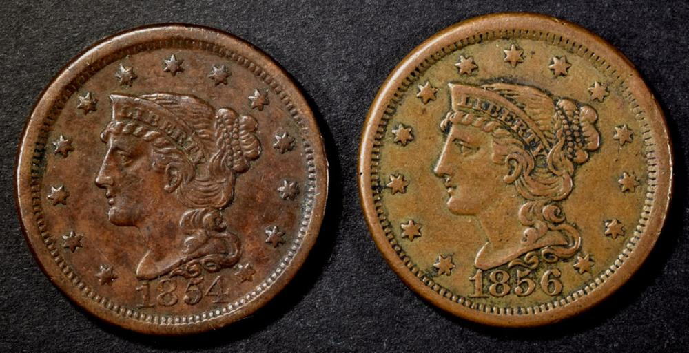 1854 & 1856 LARGE CENTS  XF