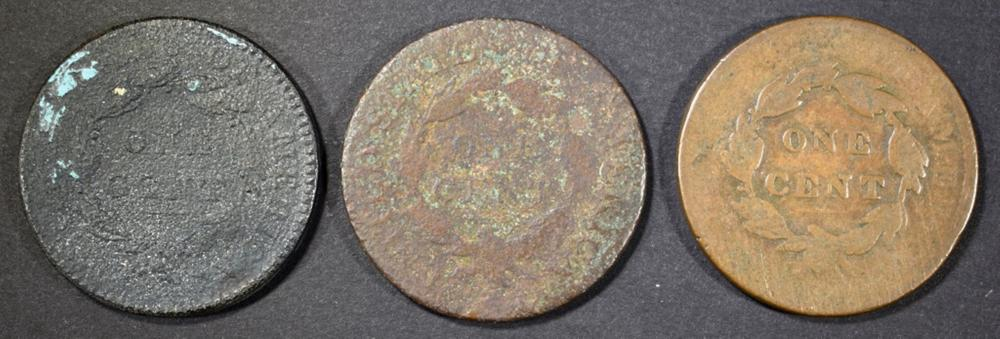 Lot 189: 3-LOWER GRADE LARGE CENTS: