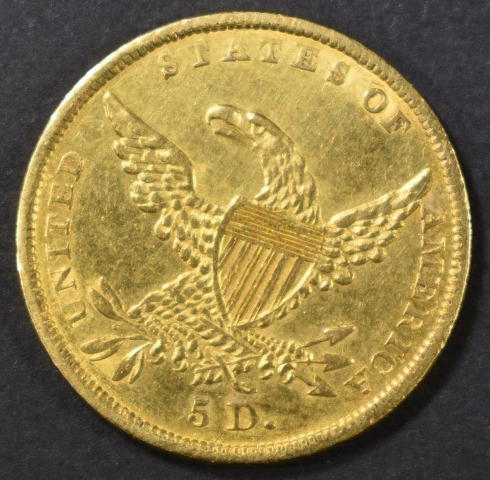 Lot 215: 1836 $5 GOLD CLASSIC HEAD AU/BU