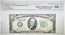 Lot 227: 1934 C $10 FRN STAR NOTE. CGA ABOUT UNCIRC OPQ
