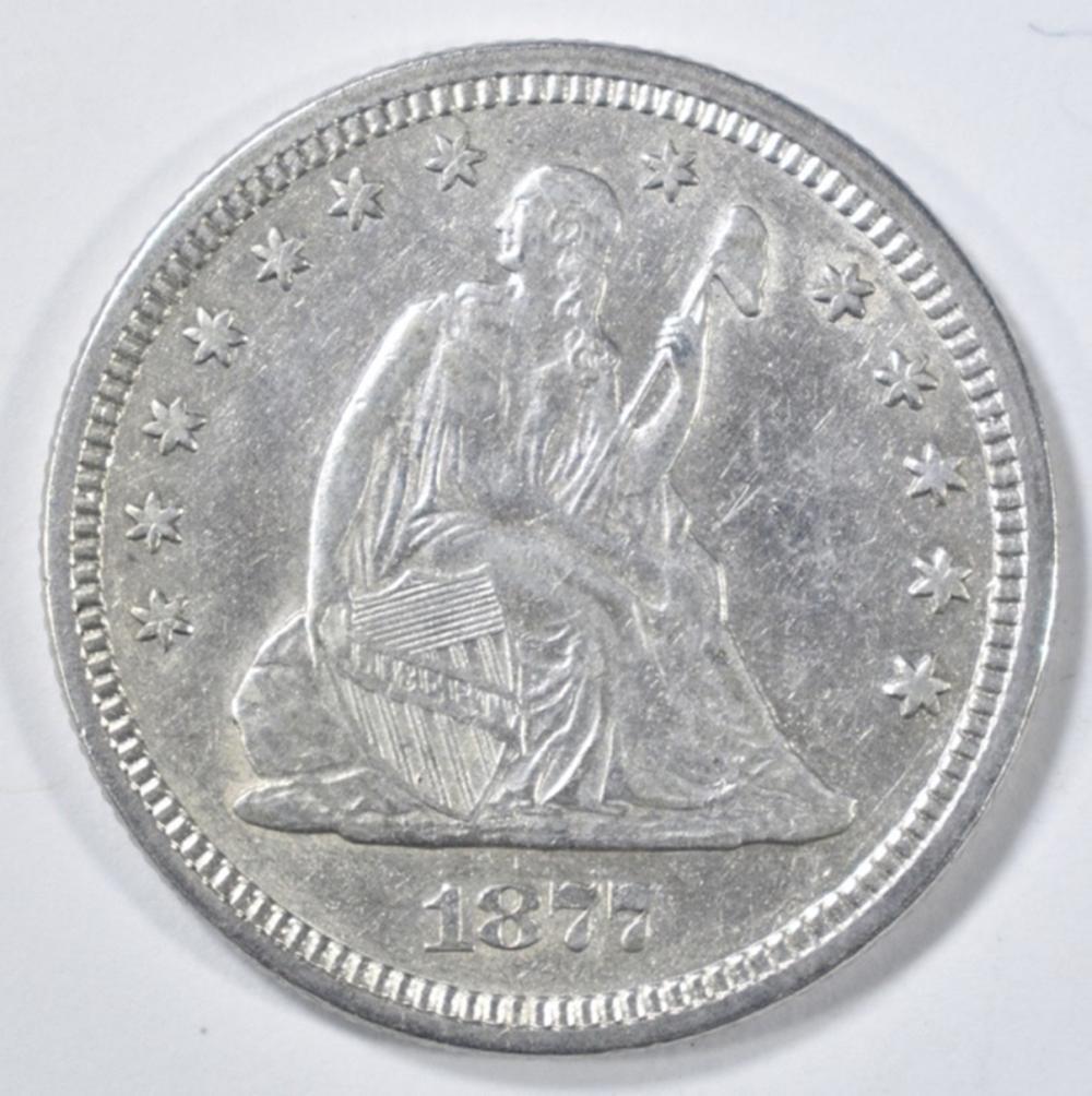 Lot 239: 1877 SEATED LIBERTY QUARTER AU