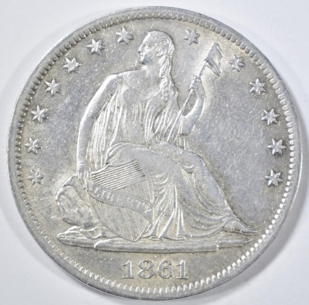 Lot 244: 1861-S SEATED LIBERTY HALF DOLLAR BU CLEANED