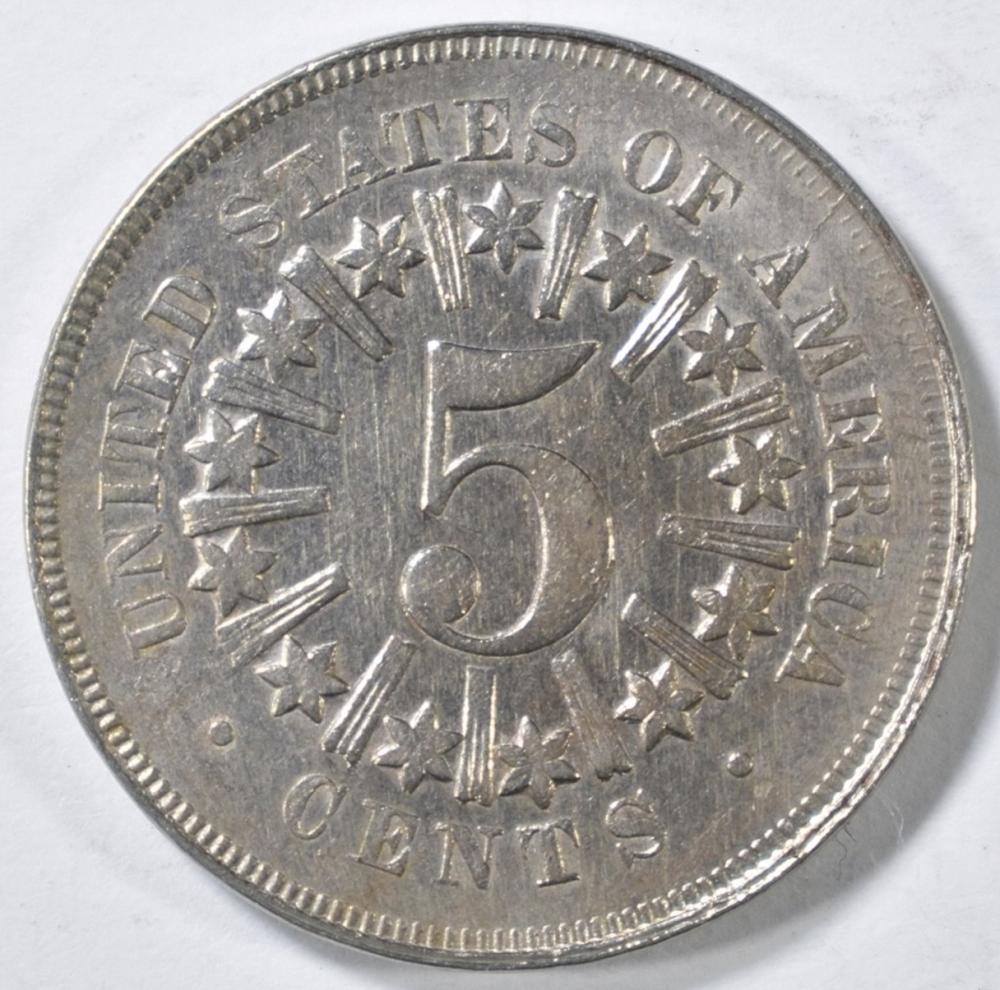Lot 265: 1866 SHIELD NICKEL AU/BU