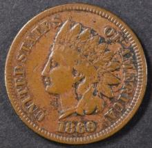 Lot 263: 1869 INDIAN CENT VF