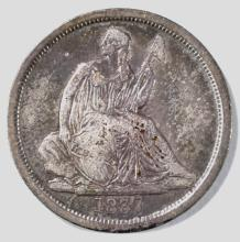 Lot 277: 1837 NO STARS SEATED LIBERTY DIME VF/XF