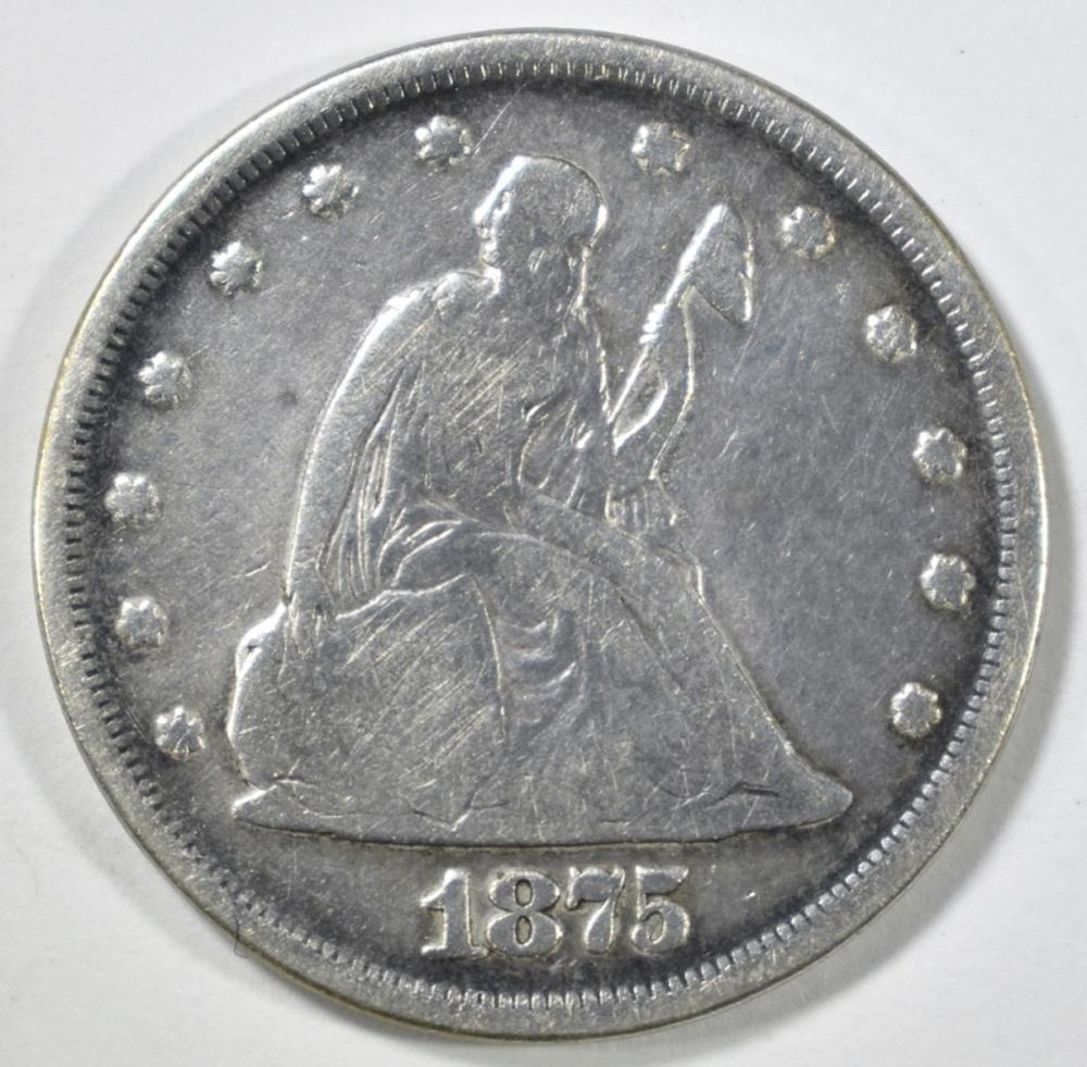 Lot 280: 1875 20 CENT PIECE VG