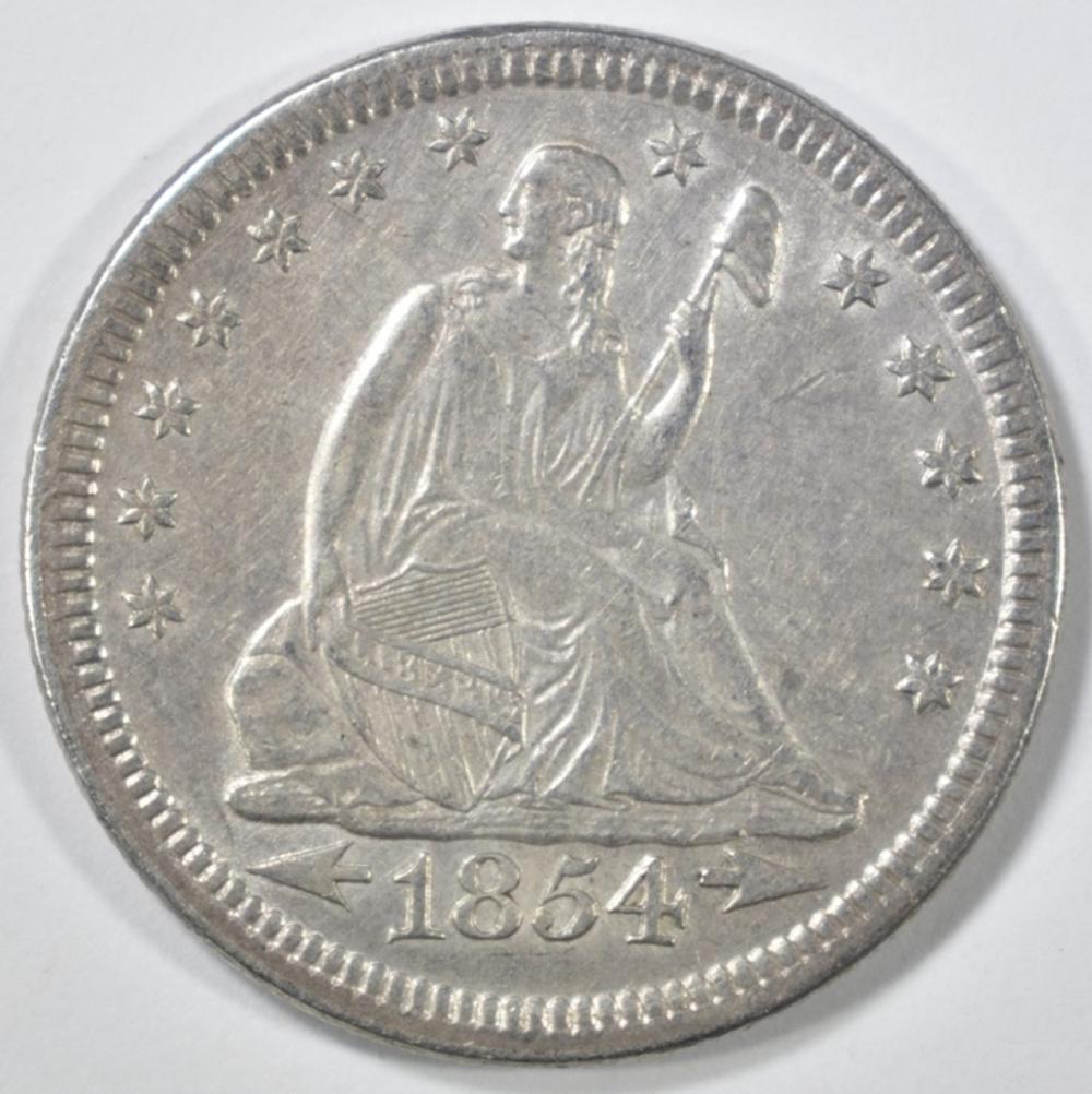 Lot 283: 1854 ARROWS SEATED LIBERTY QUARTER AU/BU