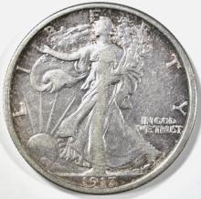 Lot 289: 1917-D REVERSE WALKING LIBERTY HALF DOLLAR XF/AU