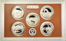 Lot 297: 2-CLAD & 2-SILVER 2014 QUARTER PROOF SETS