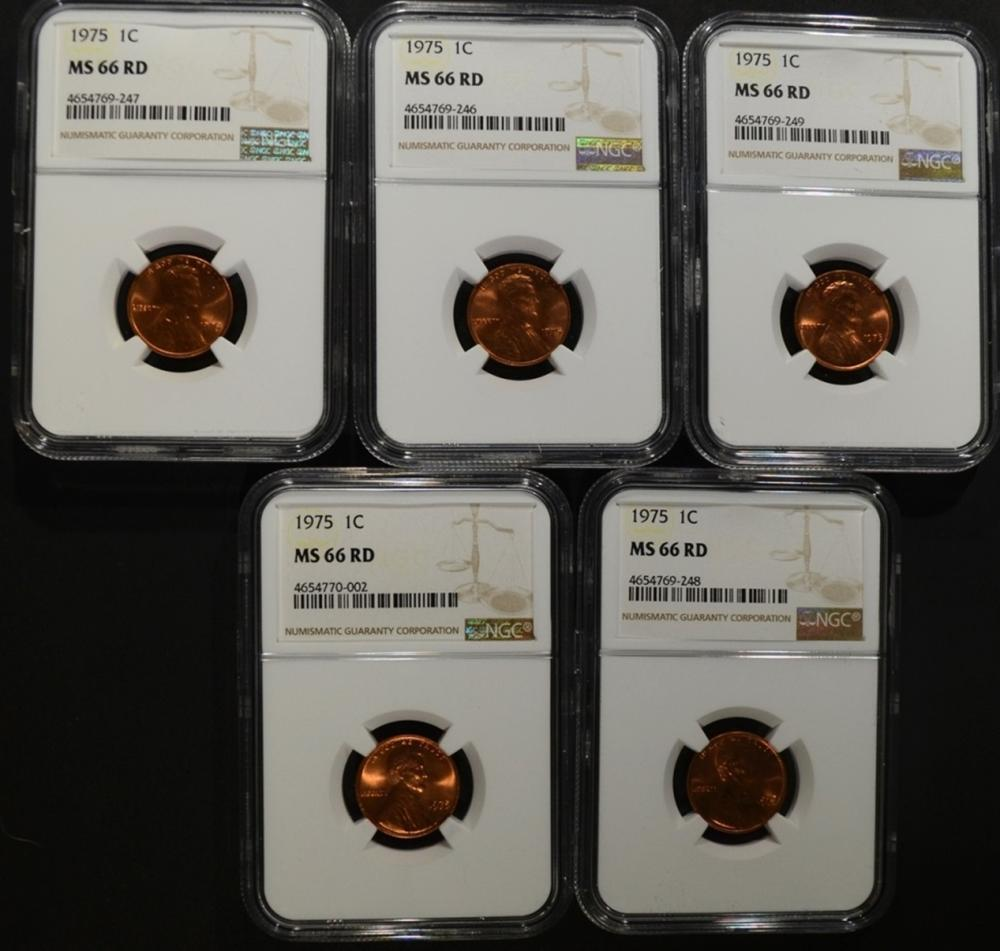 Lot 308: 5 - 1975 LINCOLN CENTS NGC MS66RD