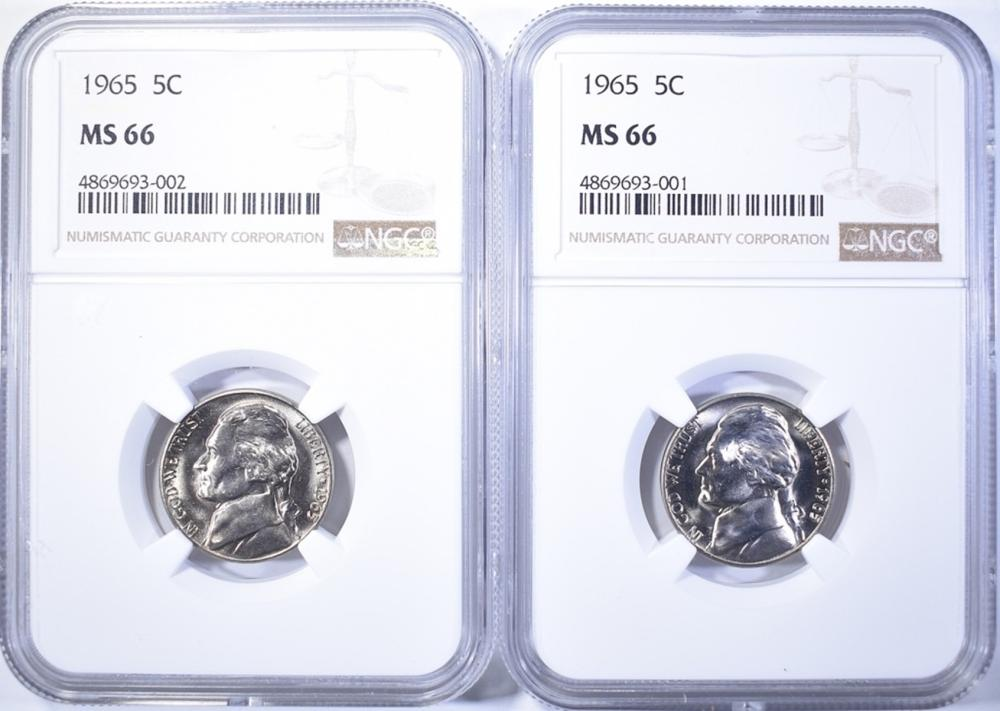 Lot 309: (2) 1965 NICKELS NGC MS-66