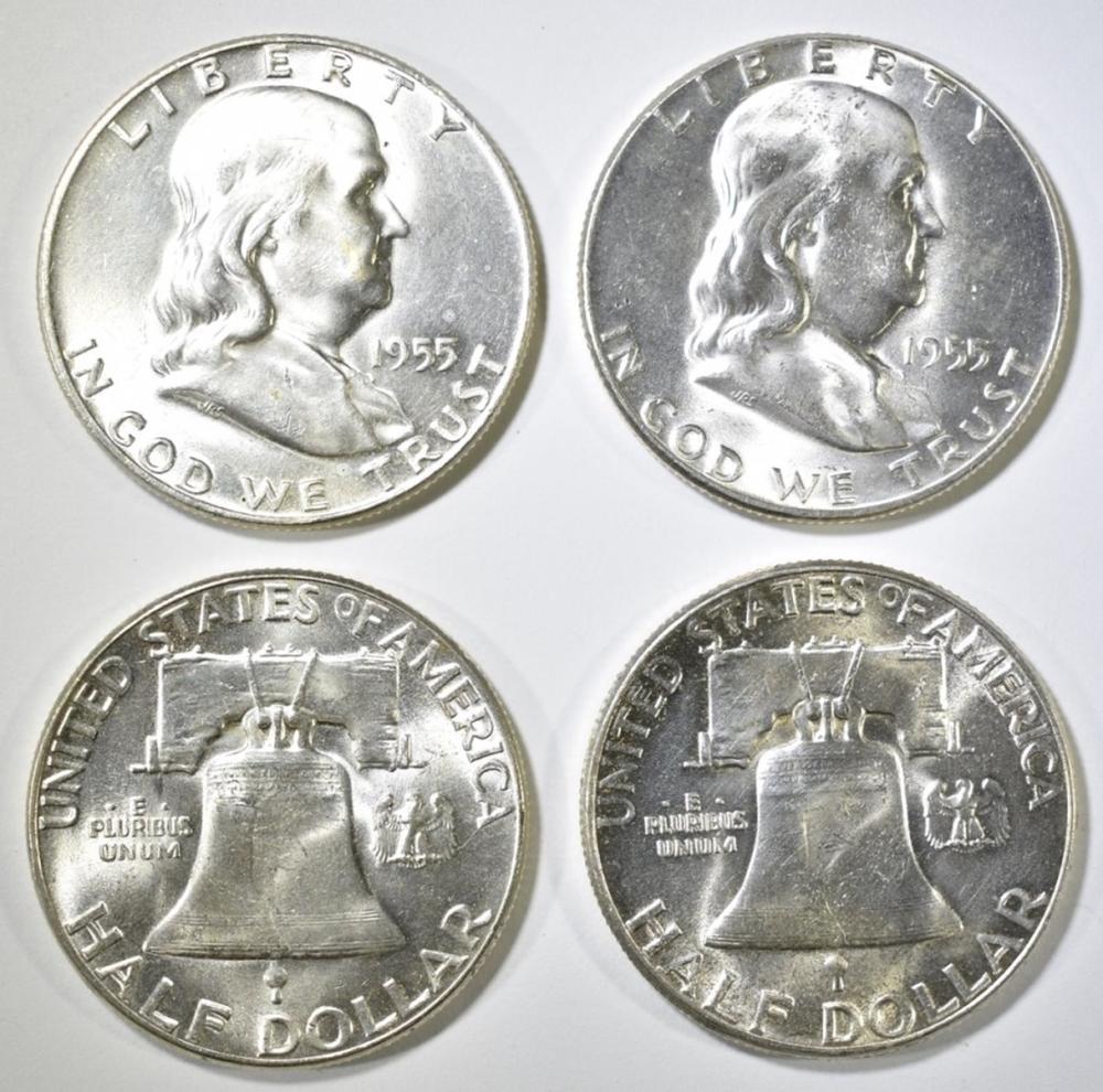 Lot 305: 18-BU 1955 FRANKLIN HALF DOLLARS