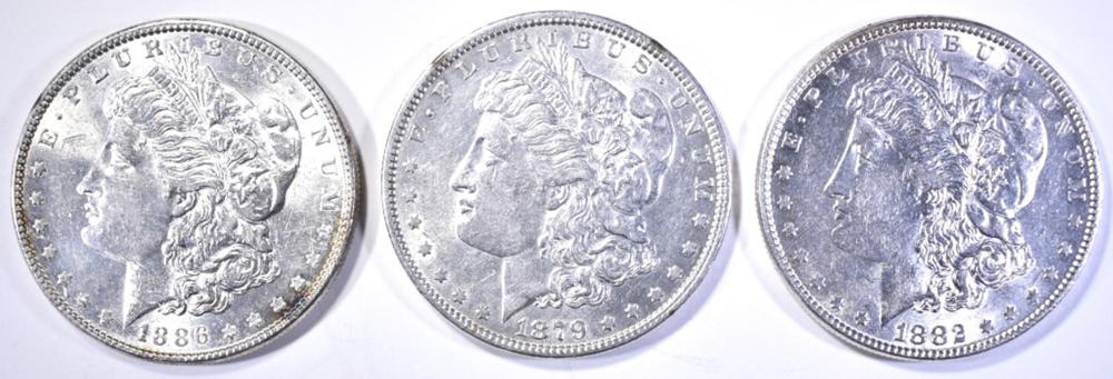 Lot 316: 1879, 82 & 86 CH BU MORGAN DOLLARS