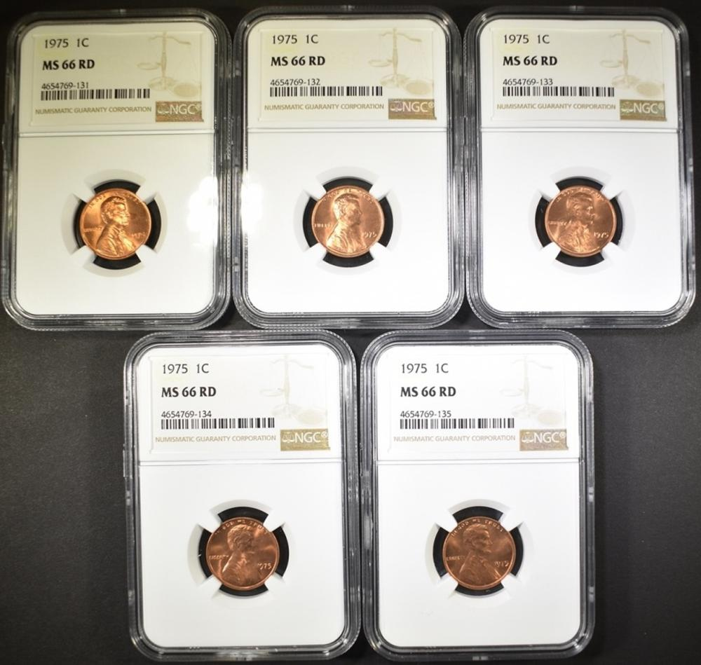 Lot 326: 5 - 1975 LINCOLN CENT NGC MS66RD