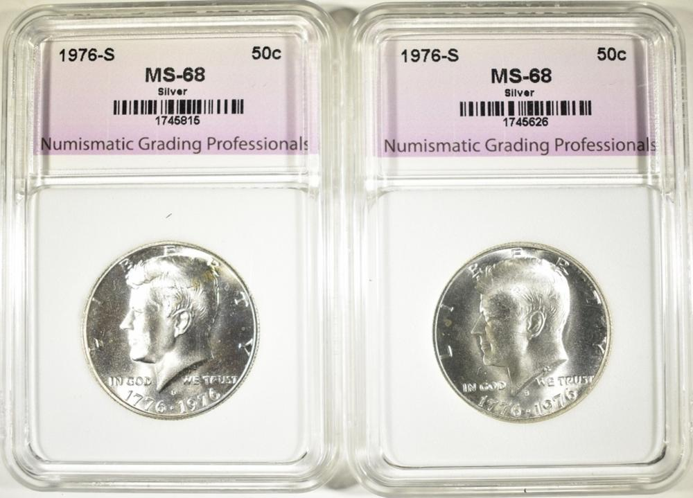 Lot 332: 2 - 1976 S SILVER KENNEDY HALF DOLLARS